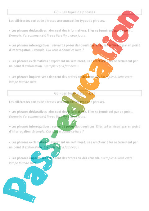 Types De Phrases Cours Lecon Grammaire 3eme Primaire