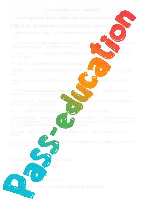Exceptionnel Homophones grammaticaux - Cours, Leçon - Orthographe : 5eme  YP19