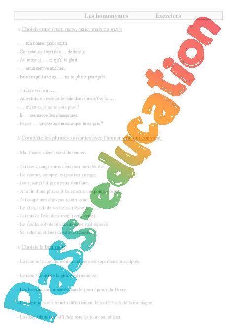 Homonymes exercices vocabulaire 4eme primaire pass - Exercice table de multiplication cm1 ...