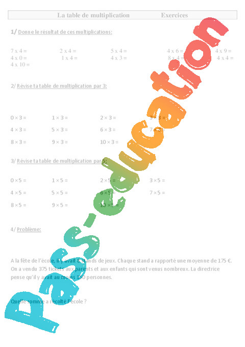 Table de multiplication exercices 3eme primaire pass - Exercices sur les tables de multiplication ce ...