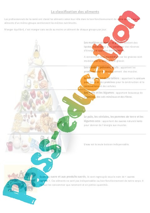 classification des aliments - exercices