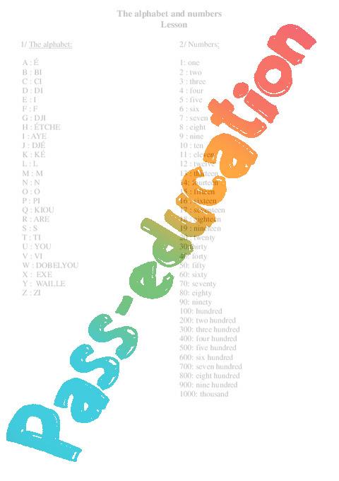 Populaire Alphabet et les nombres / The alphabet and numbers - Cours, Leçon  ES33