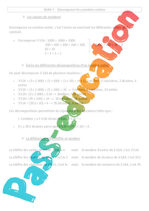 D composer les nombres entiers cours le on num ration - Difference entre sommaire et table des matieres ...