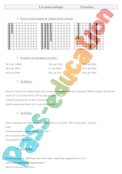 Pourcentages - Exercices - Gestion des données : 5eme Primaire - Pass Education