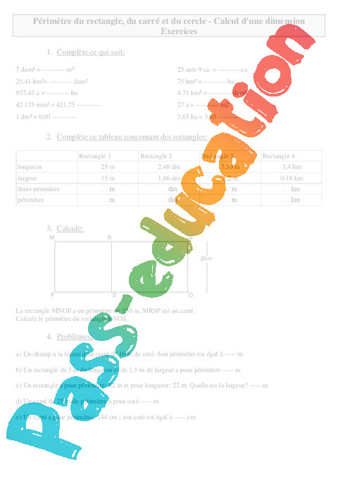 P rim tre du rectangle du carr et du cercle calcul d 39 une dimension exercices mesures - Calcul de metre carre ...