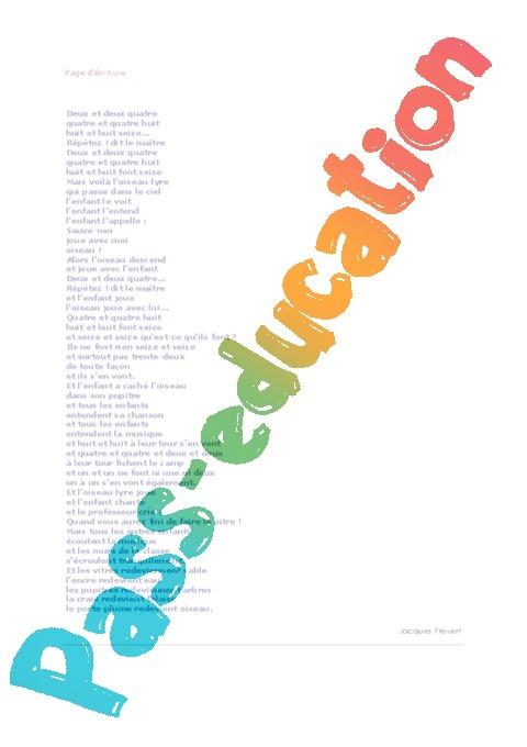 Sehr Page d'écriture de Jacques Prévert - Poésie école - Fiches : 3eme  WI02