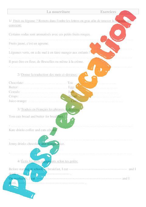 nourriture en anglais exercices anglais 2 3eme 4eme 5eme primaire pass education. Black Bedroom Furniture Sets. Home Design Ideas