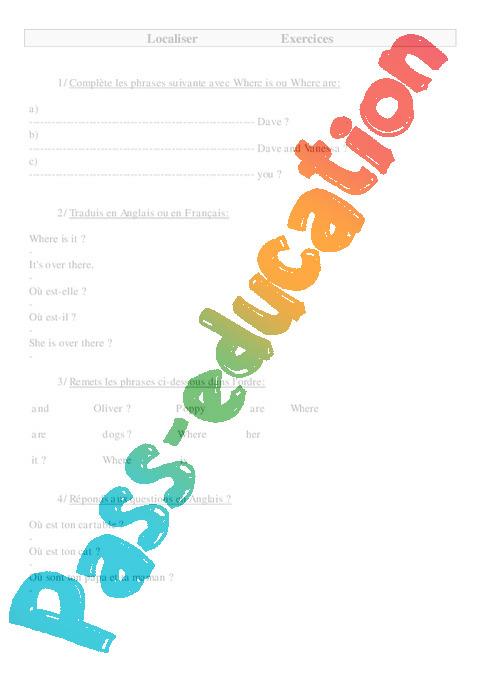 localiser en anglais exercices anglais 2 3eme 4eme 5eme primaire pass education. Black Bedroom Furniture Sets. Home Design Ideas
