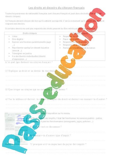 Les droits et devoirs du citoyen fran ais document questions correction 3eme 4eme 5eme - Droit et devoir du locataire ...