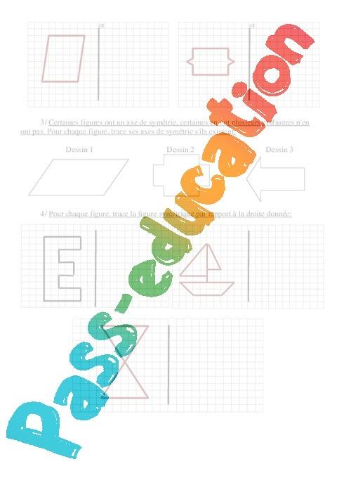 Sym trie exercices imprimer 5eme primaire pass education - Symetrie a imprimer ...