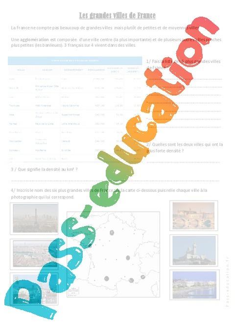les grandes villes de france exercices 3eme 4eme primaire pass education. Black Bedroom Furniture Sets. Home Design Ideas