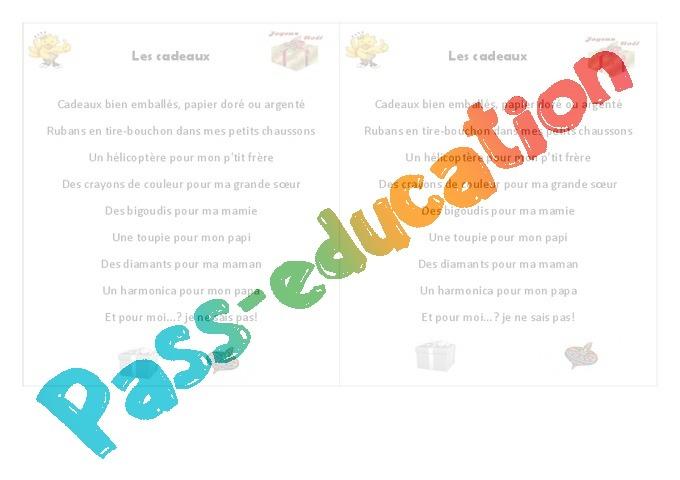 Noël Les Cadeaux Poésie 3eme Primaire Pass Education