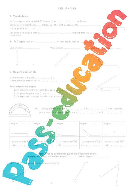 Bien connu Angles - Géométrie - Exercices - Examen Contrôle - Mathématiques  JT72