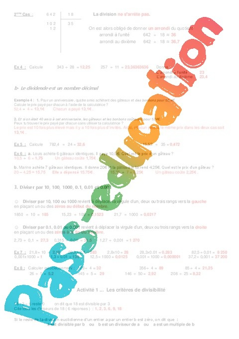 Division calculs exercices examen contr le for Les multiples de 6