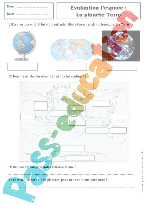 Plan te terre examen evaluation espace temps 2eme for 6eme planete