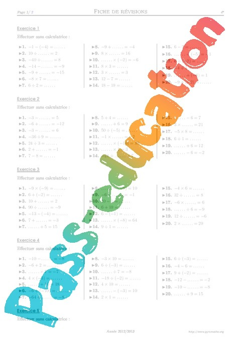 Calcul mental exercices corrig s math matiques - Calcul mental table de multiplication ...
