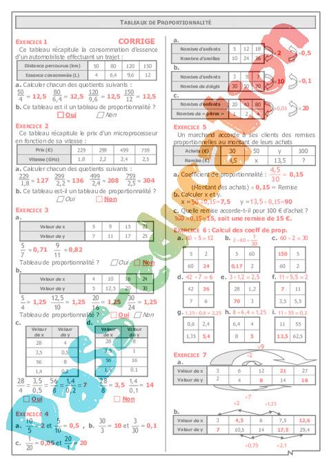 Proportionnalité - Exercices - Correction - Mathématiques : 6eme Primaire - Pass Education