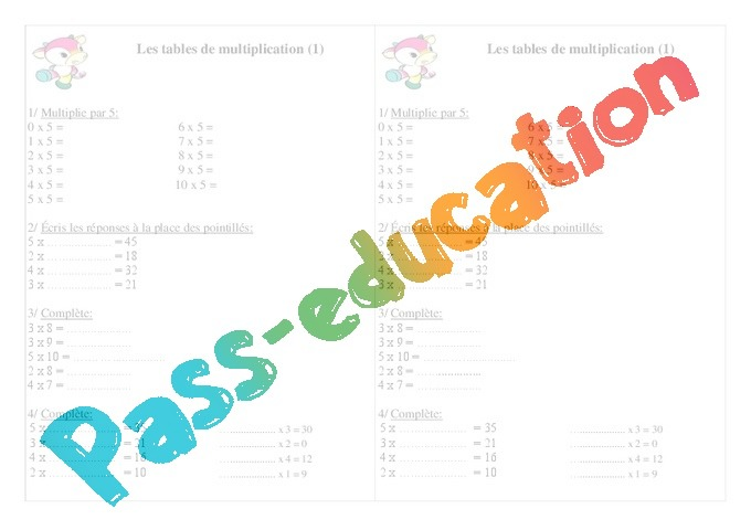 Tables de multiplication exercices calcul 2eme for Exercice table de 7