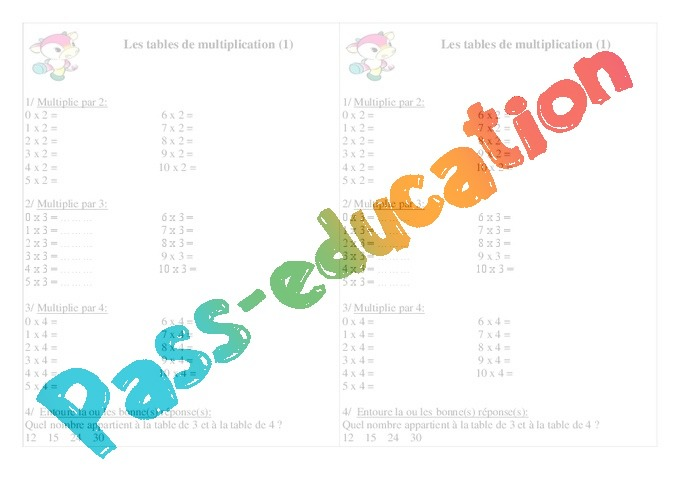 Tables de multiplication exercices calcul 2eme primaire pass education - Exercice tables de multiplication ce2 ...