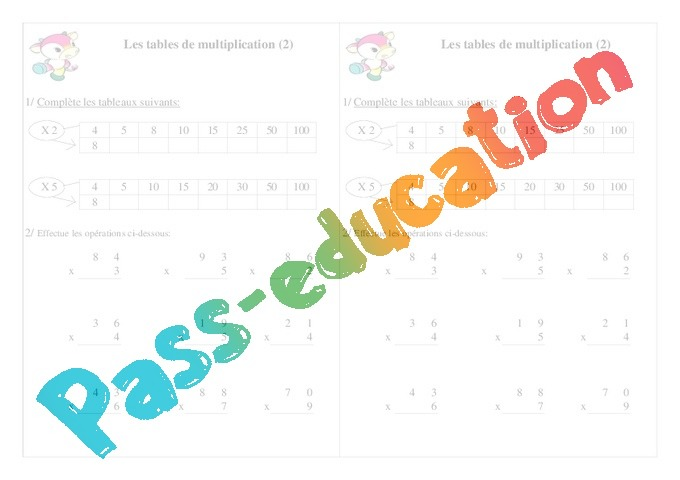 Tables de multiplication exercices calcul 2eme for Table de multiplication exercice