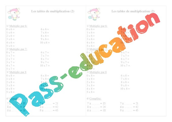 Tables de multiplication exercices calcul 2eme for Table de multiplication de 7 8 9