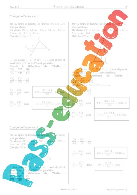 exercice thales 3eme pdf