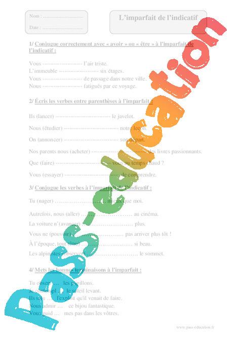 Imparfait - Exercices corrigés - Conjugaison : 5eme ...