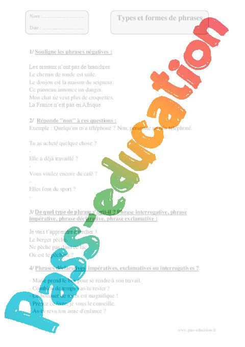 Types formes de phrases - Exercices corrigés - Grammaire ...