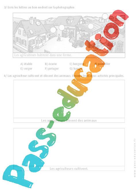 vivre la campagne exercices paysages espace 1ere primaire pass education. Black Bedroom Furniture Sets. Home Design Ideas