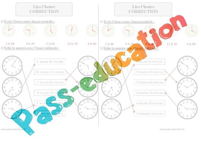Fabuleux Lire l'heure - Exercices corrigés - Mesures - Mathématiques : 2eme  XW88