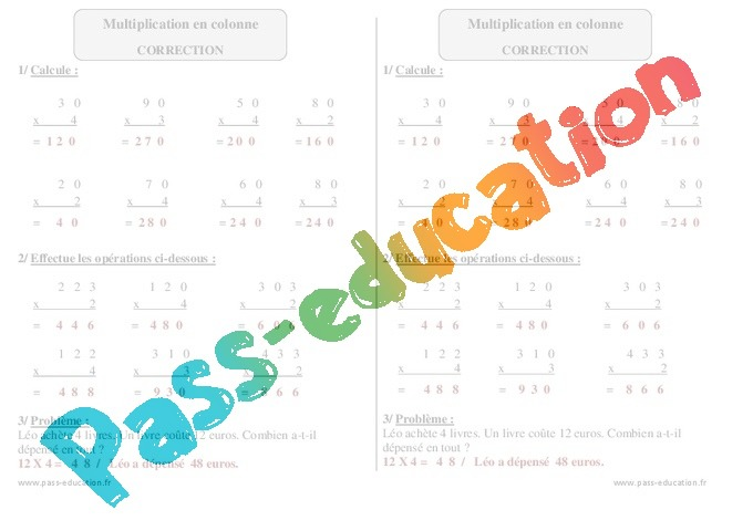 Multiplication en colonne exercices corrig s - Exercice table de multiplication en ligne ...