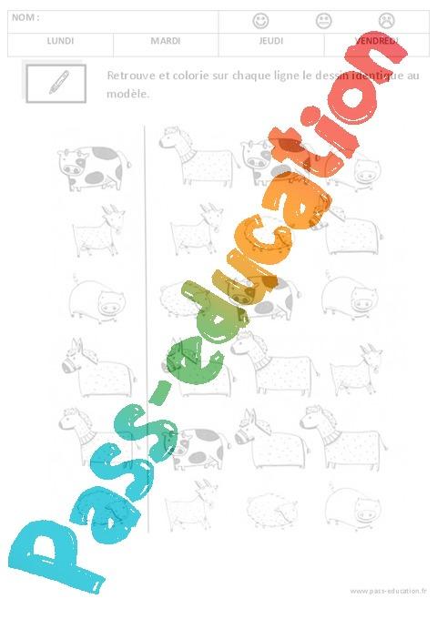 Connu Discrimination visuelle - Lecture : 1ere, 2eme Maternelle - Cycle  WV96