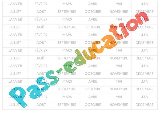 Super Etiquettes - Mois - Affichages pour la classe : 1ere, 2eme, 3eme  VY46