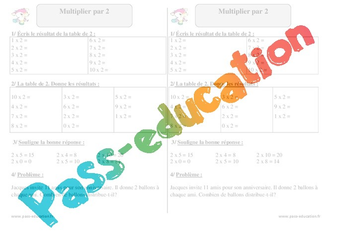 Multiplier par 2 exercices corrig s math matiques - Table de multiplication exercice ce1 ...
