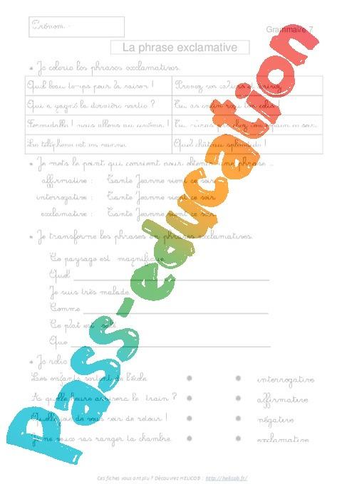 Célèbre Phrase exclamative - Exercices corrigés : 3eme Primaire - Pass  UH43