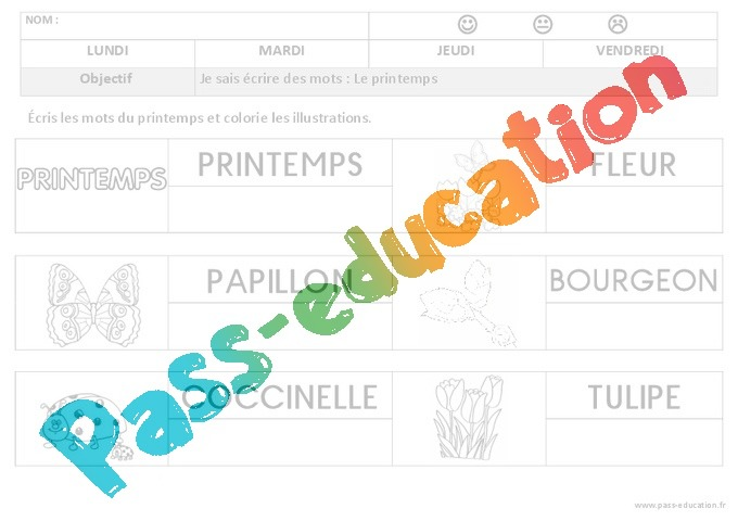 Beliebt Printemps - Ecriture : 1ere, 2eme Maternelle - Cycle Fondamental  IT09