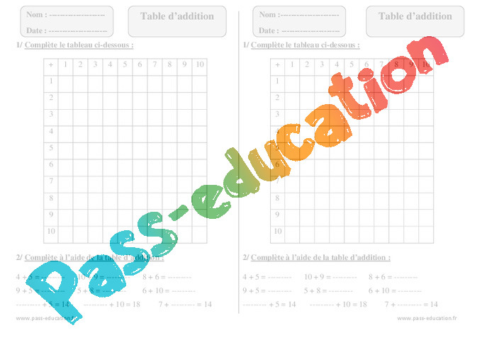 Table d addition exercices corrig s calcul for Exercice table de 7