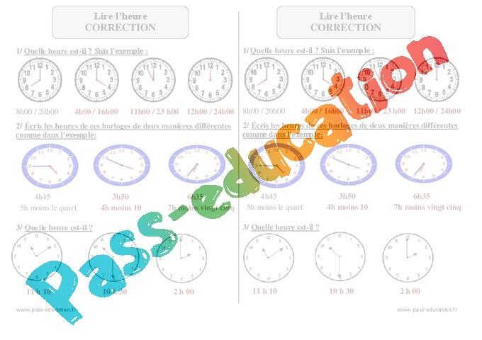 lire l 39 heure exercices corrig s 3eme primaire pass education. Black Bedroom Furniture Sets. Home Design Ideas
