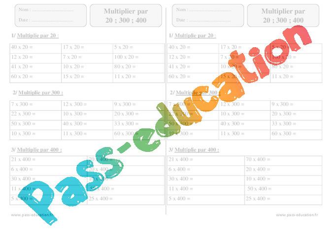 Multiplier par 20 300 400 exercices corrig s 3eme - Table de multiplication ce2 exercices ...