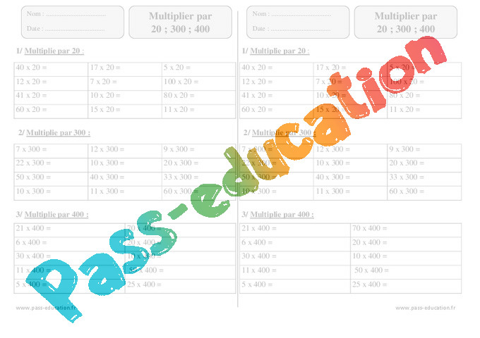 Multiplier par 20 300 400 exercices corrig s 3eme for Multiplication cm1 en ligne