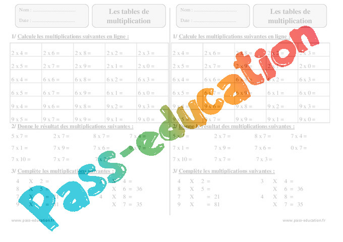 Tables de multiplication exercices corrig s calcul math matiques 3eme primaire pass - Exercice ce1 table de multiplication ...