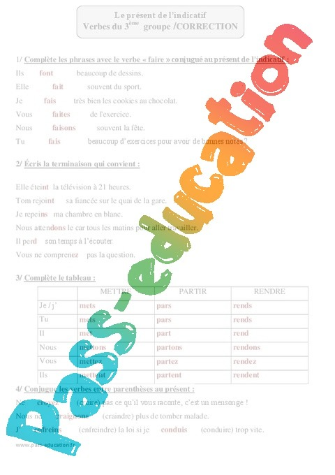 Verbes du groupe - Présent de l'indicatif - Exercices corrigés - Conjugaison : 4eme Primaire ...