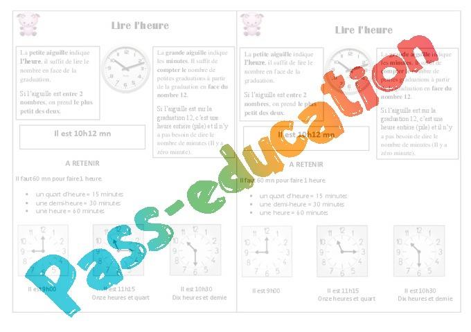 Bekannt Lire l'heure - Cours, Leçon : 2eme Primaire - Pass Education XA57