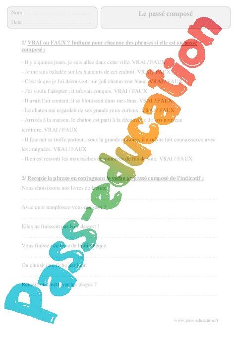 passe compose exercices francais pdf