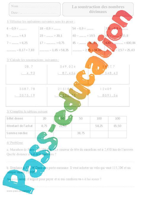 Soustraction des nombres d cimaux exercices corrig s calcul math matiques 5eme primaire - Calcul nombre de parpaing ...