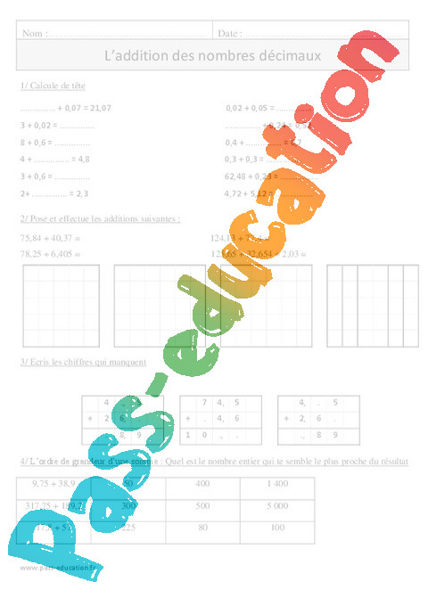 Addition des nombres d cimaux exercices corrig s for Exercice table de multiplication cm1