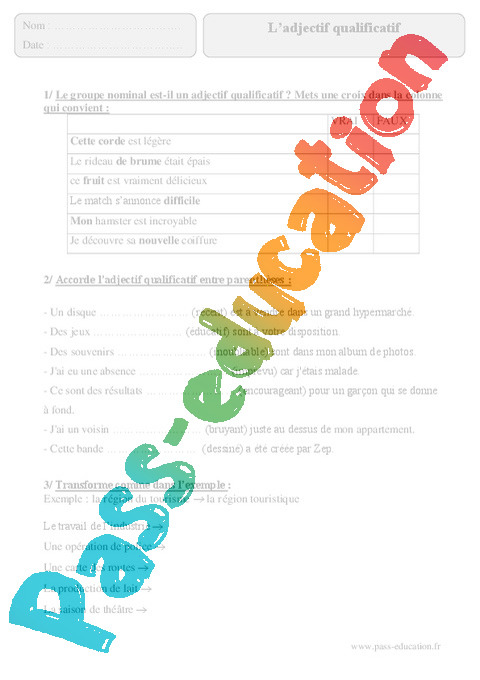 Adjectif qualificatif - Exercices corrigés - Grammaire ...