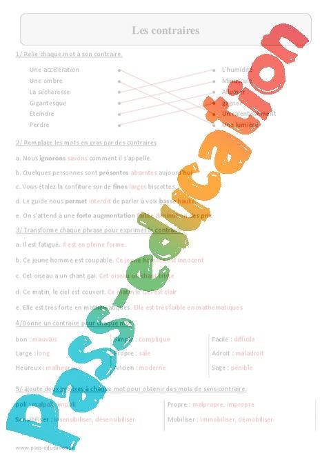 contraires exercices corrig s vocabulaire 5eme primaire pass education. Black Bedroom Furniture Sets. Home Design Ideas