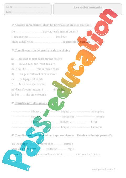 Déterminants - Exercices corrigés - Grammaire : 5eme ...