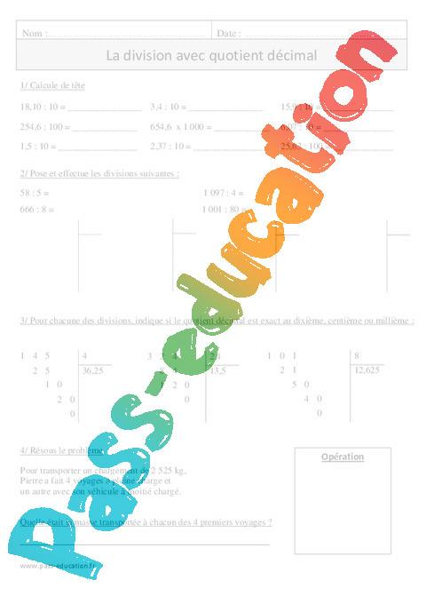 Division avec quotient d cimal exercices corrig s calcul math matiques 4eme primaire - Division a imprimer ...